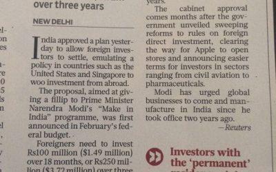 India offers residency status to woo investors